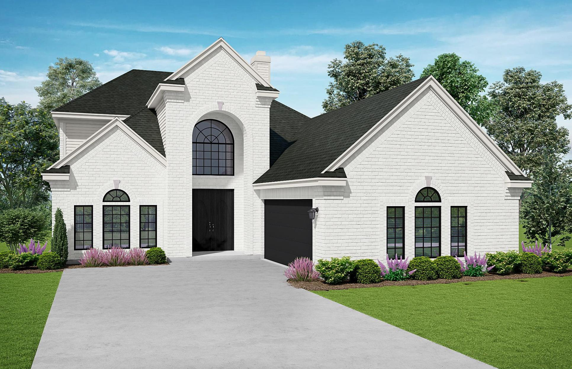 The Savannah: Elevation B. Images are artist renderings and will differ from the actual home built.:Elevation B
