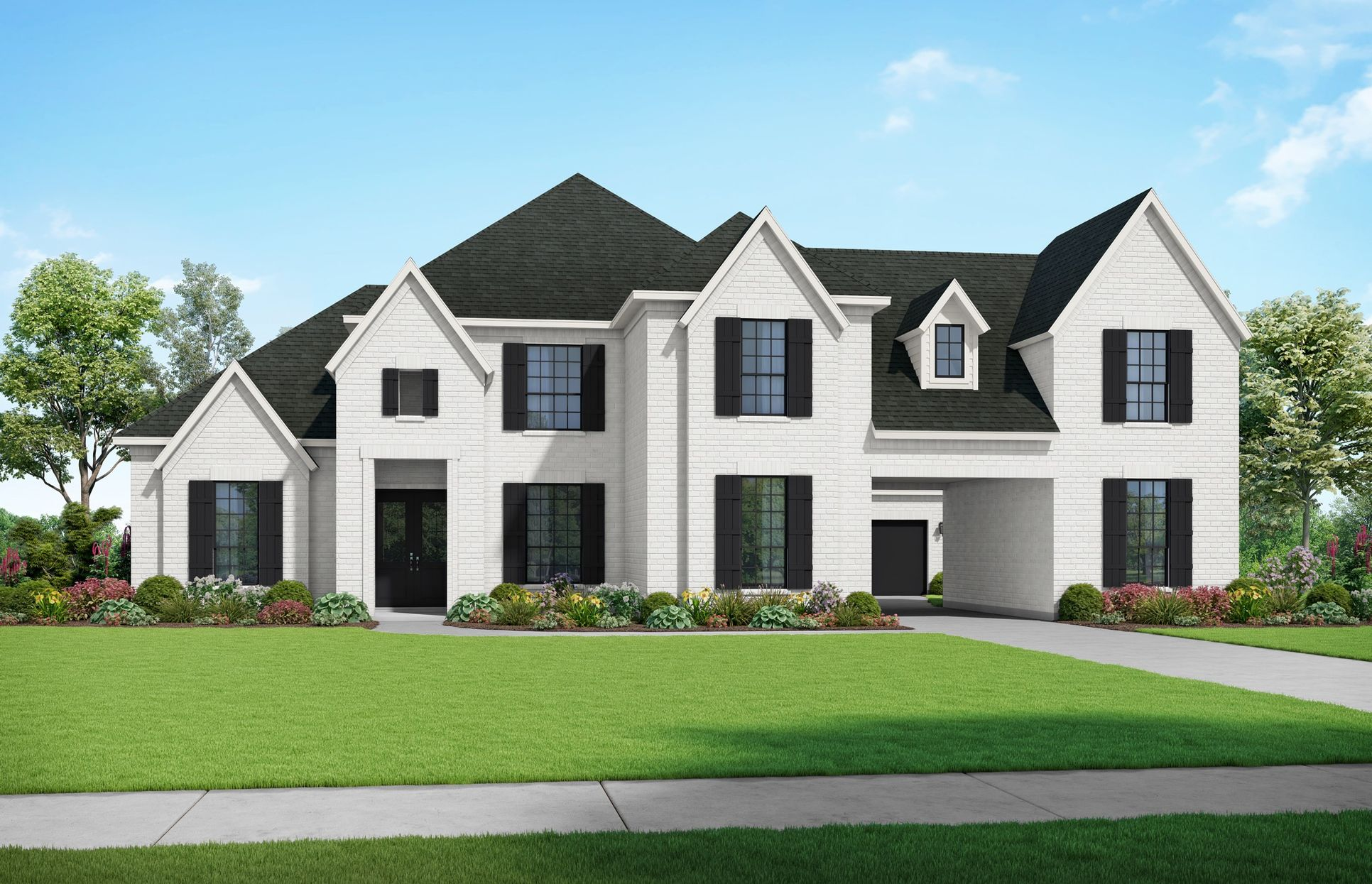The Yorktown - Elevation F1. Images are artist renderings and will differ from the actual home bu...:Elevation F1