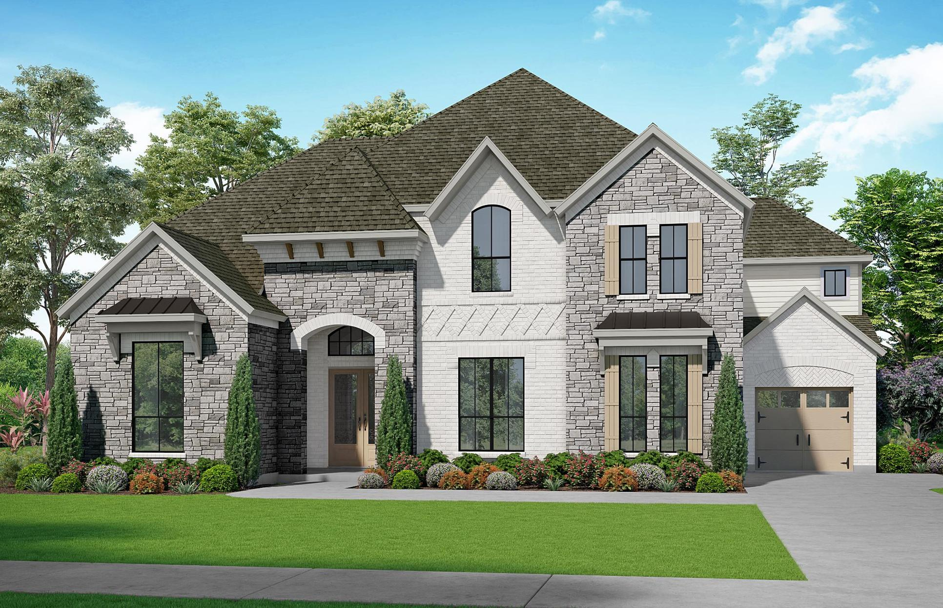 The Crockett - Elevation S1. Images are artist renderings and will differ from the actual home bu...:Elevation S1