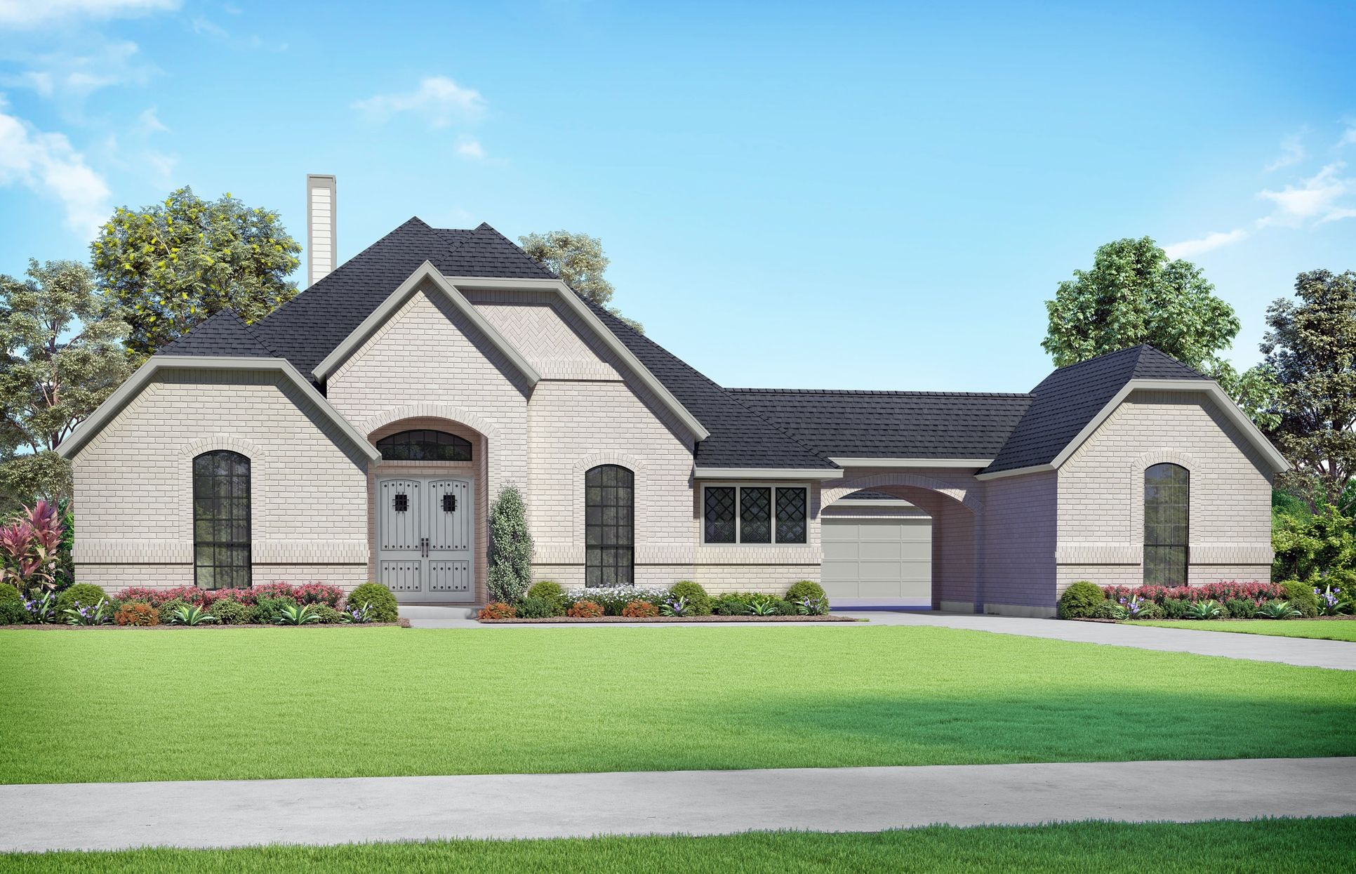 Travis Elevation A. Images are artist renderings and will differ from the actual home built.:Travis Elevation A