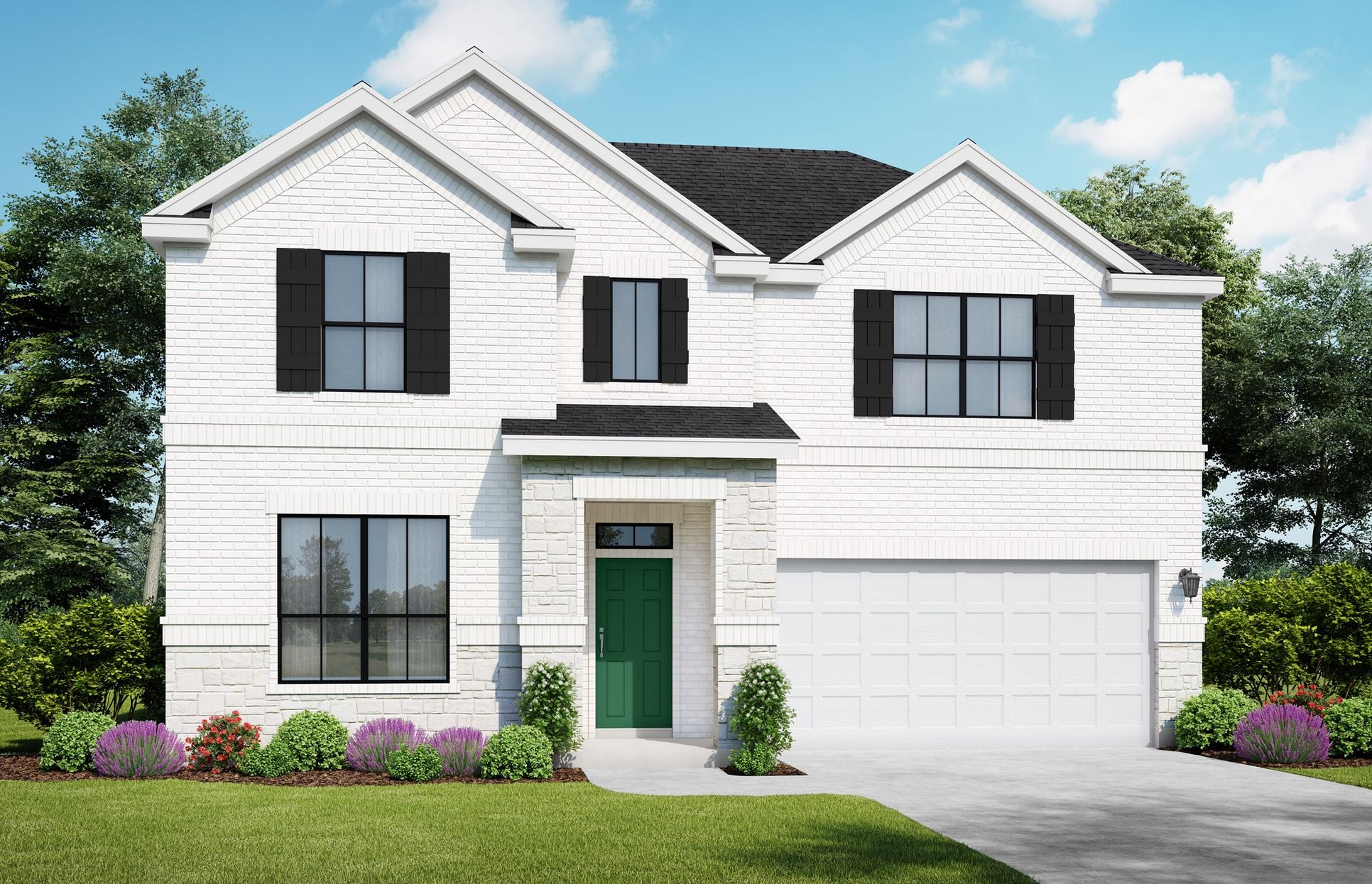The Brazos: Elevation A + Stone. Images are artist renderings and will differ from the actual hom...:Brazos Elevation A + Stone