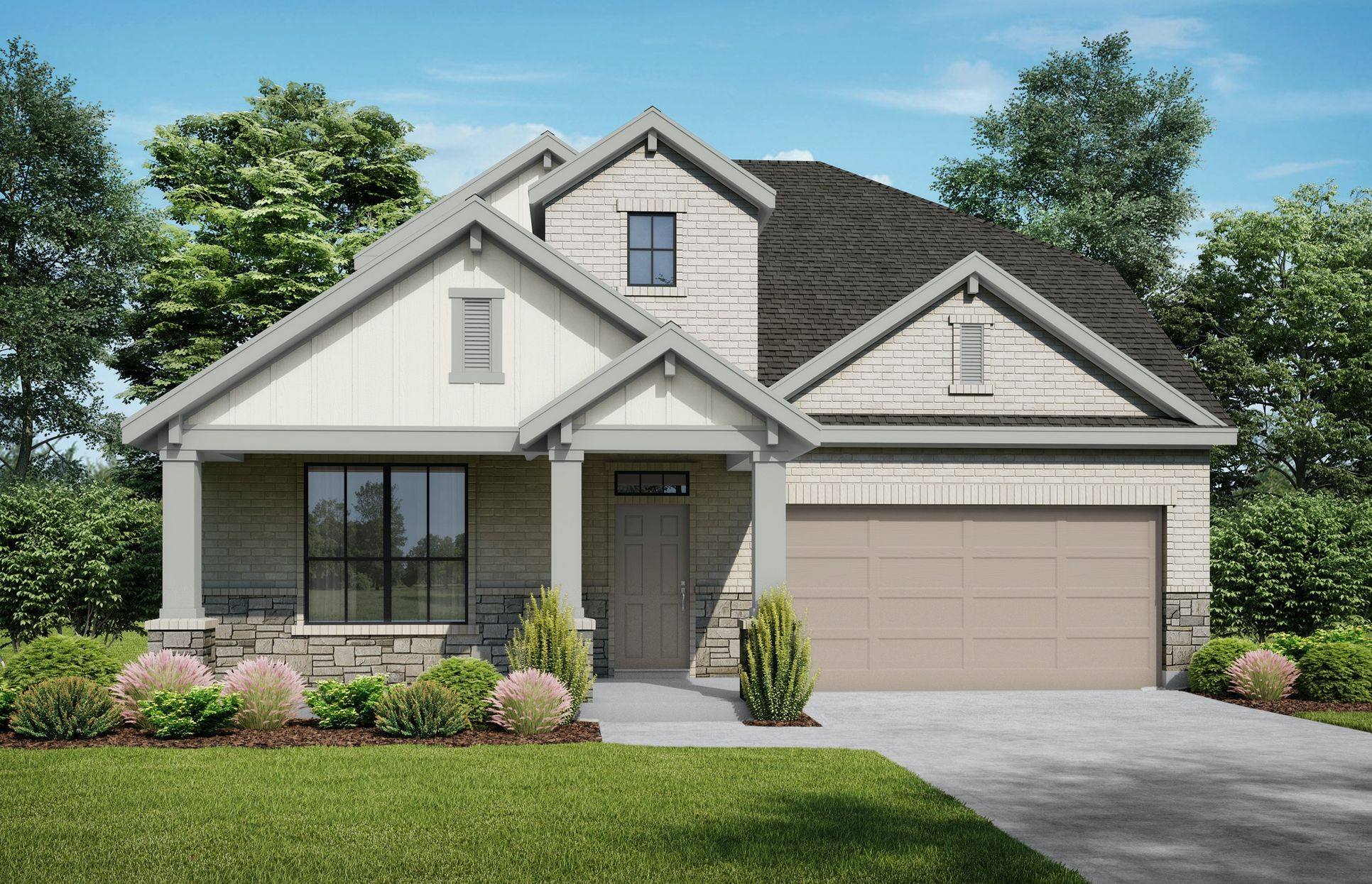The Pecos Elevation C + Stone. Images are artist renderings and will differ from the actual home ...:The Pecos