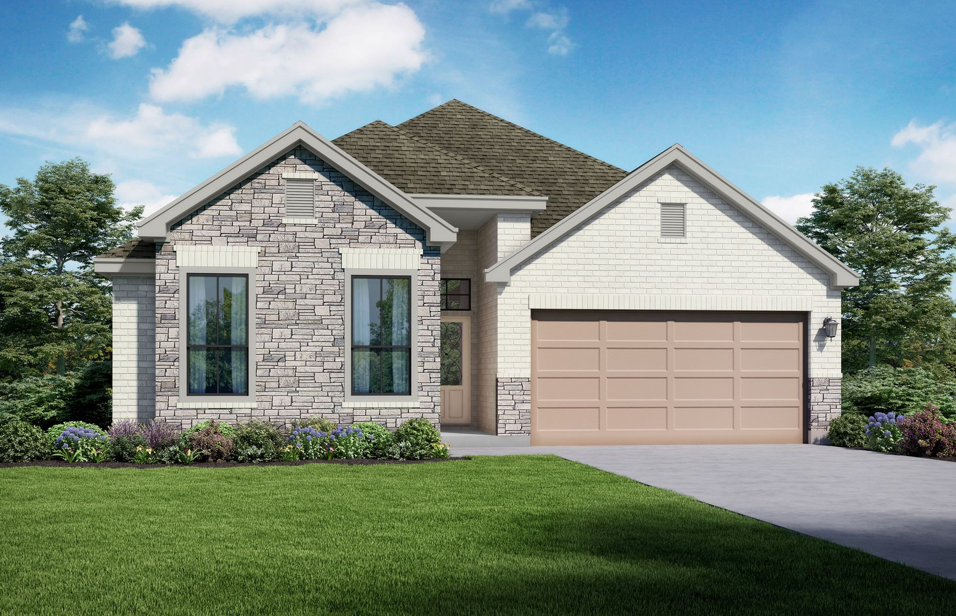 Stonebriar Elevation C + Stone. Images are artist renderings and will differ from the actual home...:Stonebriar Elevation C + Stone