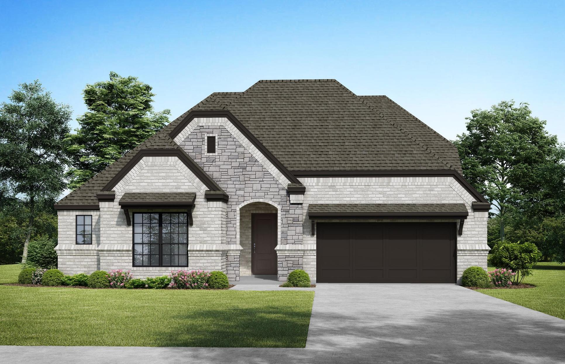 The Bellvue - Elevation A. Images are artist renderings and will differ from the actual home built.:Elevation A