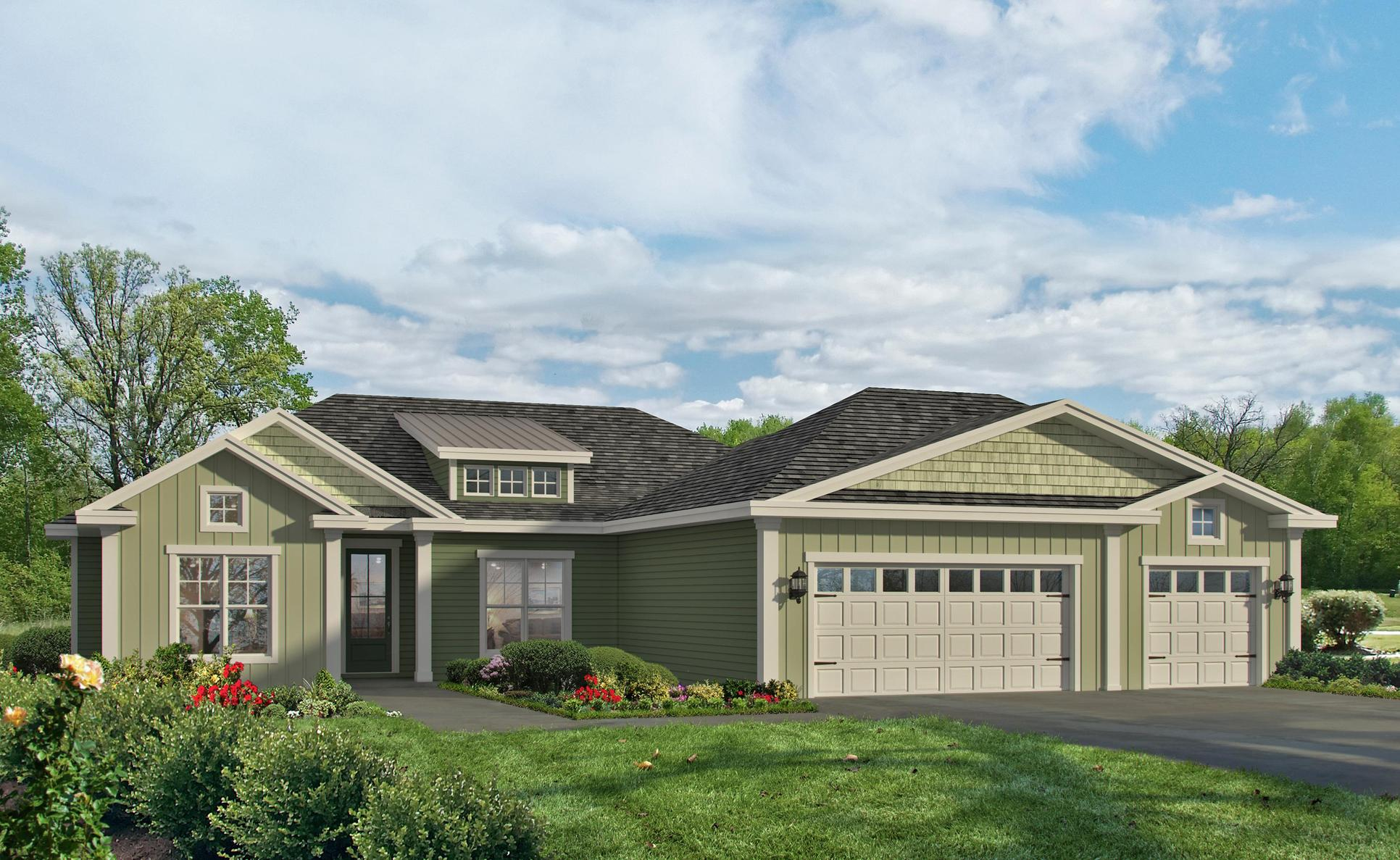 Southport III LE2:3 car front entry garage. LE/LE II elevations are available in select Landmark 24 communities.