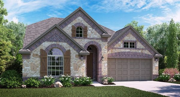 Fairfield C Elevation with brick and stone