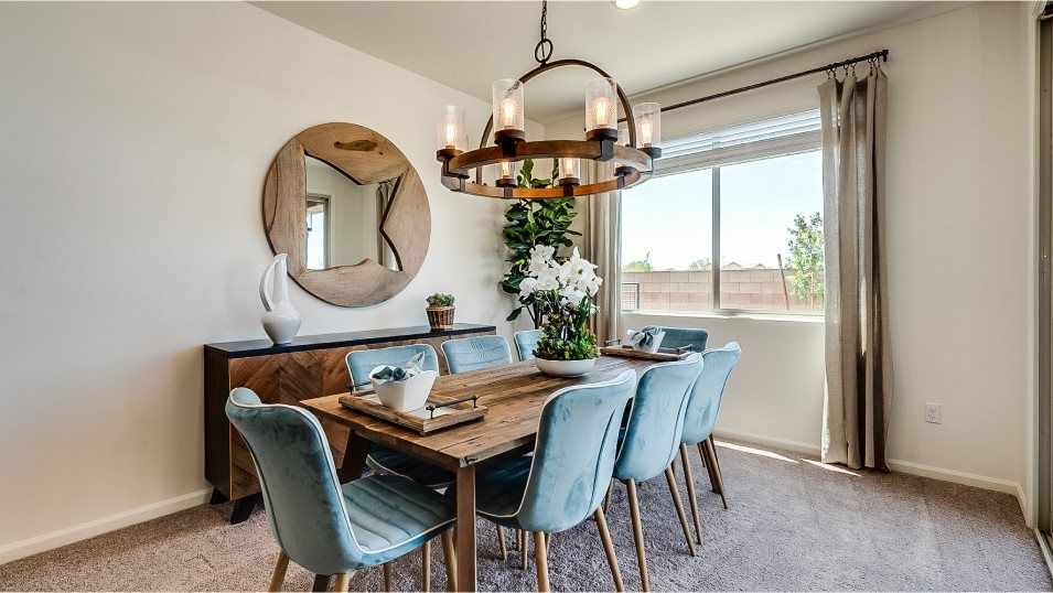 Mountain Vista Ridge 40s Collection Pima Dining Ro:The dining room is a part of the open layout, offering direct access to the family room and kitchen,