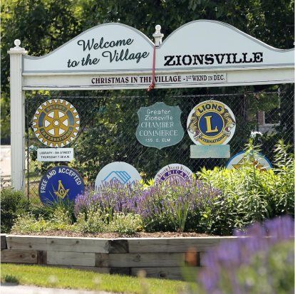 Welcome to Zionsville sign