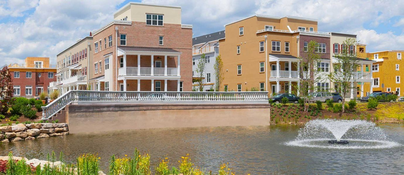 Waterside Townhomes and Pond with Fountain