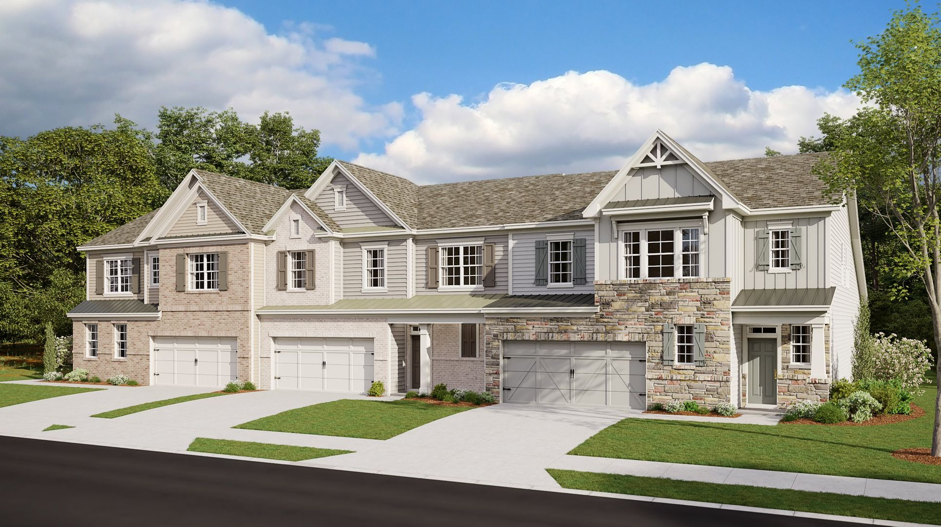 Row of townhomes at Whispering Woods
