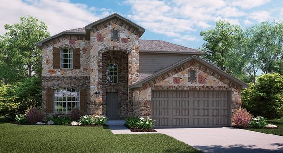 Orchid C Elevation with brick and stone