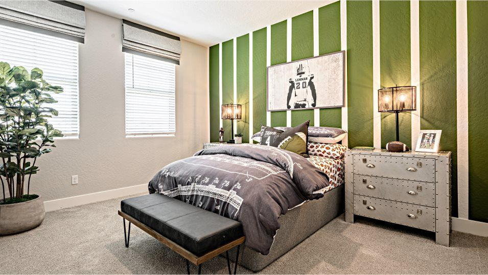 Riverstone Clementine Series Persimmon Bedroom 2:Three secondary bedrooms are located on the top floor with convenient access to the loft for shared