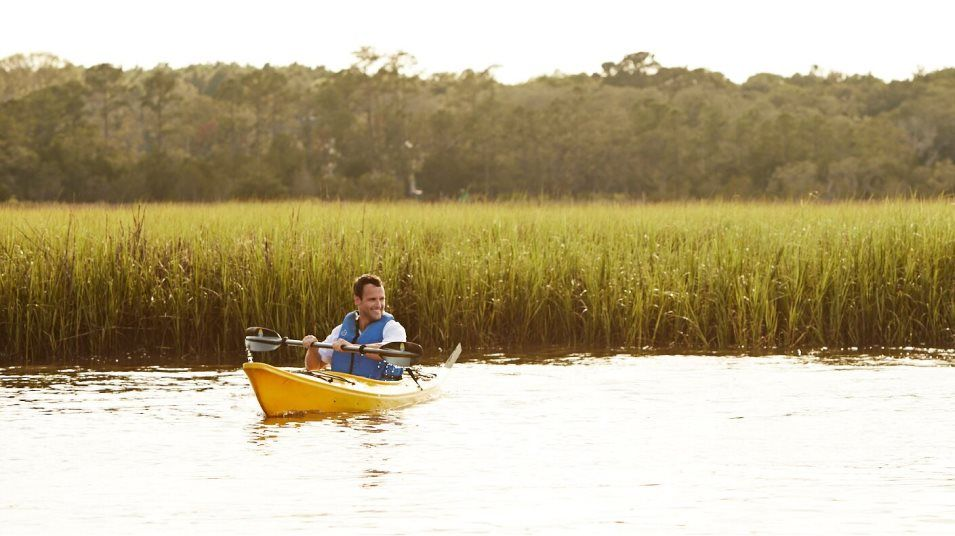 A person kayaking