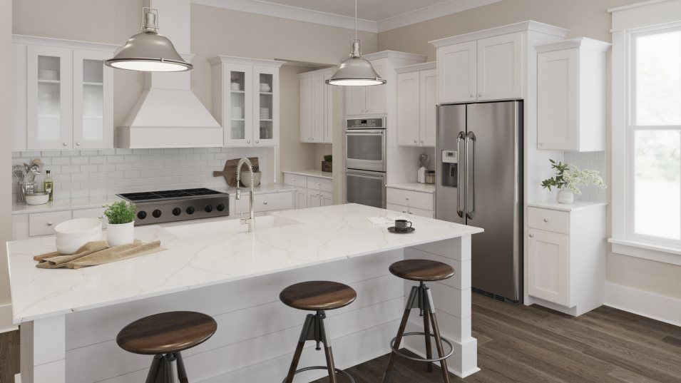 Carolina Park Riverside Murray Kitchen:This gourmet kitchen features a modern and clean design with high-end features, such as smart double