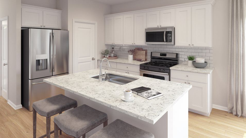 Brunswick Plantation JASMINE Kitchen:Designed for convenience, this kitchen features a center island that doubles as a breakfast bar, sty