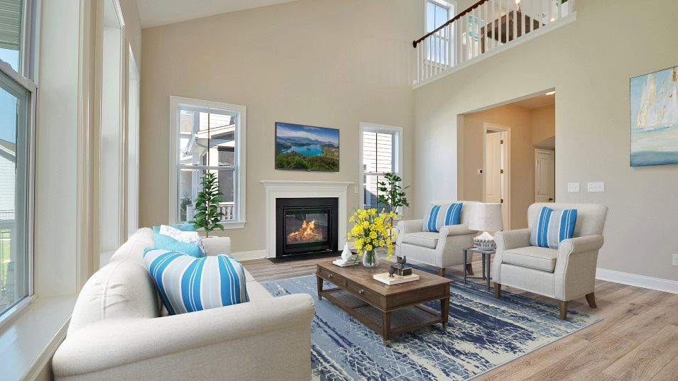 Carolina Park Phase 10 & 12 Thompson Family Room:With vaulted ceilings reaching the top floor and an open-air layout, this family room is ideal for e