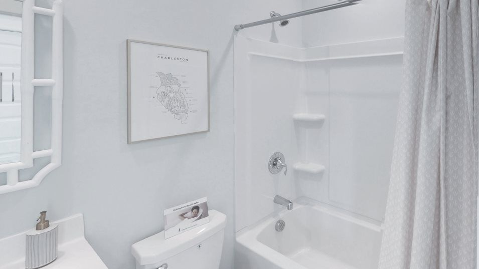 Limehouse Village Row Collection ANGLER Bathroom 2:A full-sized bathroom is conveniently located on the second floor next to both secondary bedrooms.