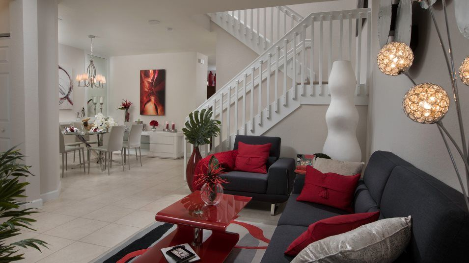 Via Ventura Townhomes Galicia Living Room:Situated directly off the foyer, the versatile living room can function in a multitude of ways in th