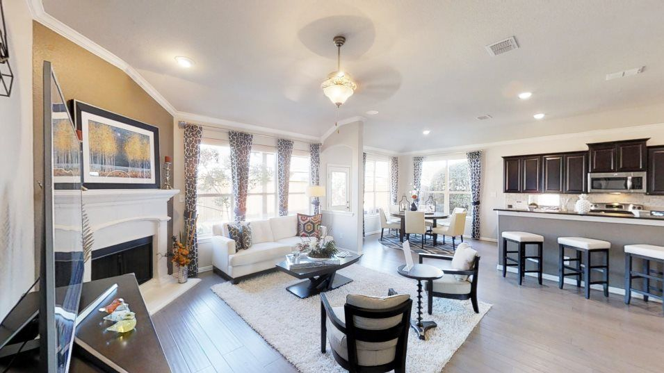 Arcadia Farms-Brookstones Alabaster Family Room:The family room has a comfortable layout with ample space for furniture and back patio access