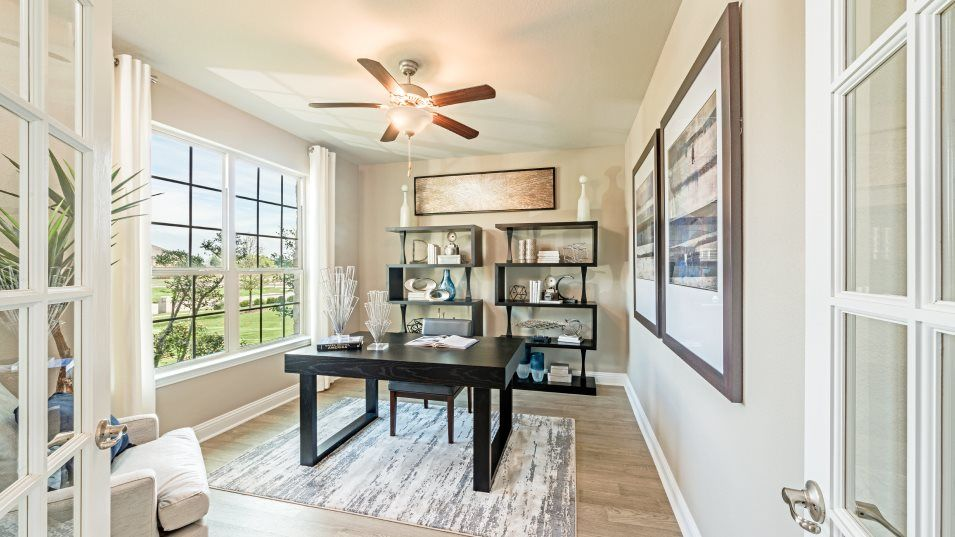 Caraway-Vista 80' Sedona Study:French doors open up to a versatile study off the foyer, fit for at-home work assignments, hobbies o