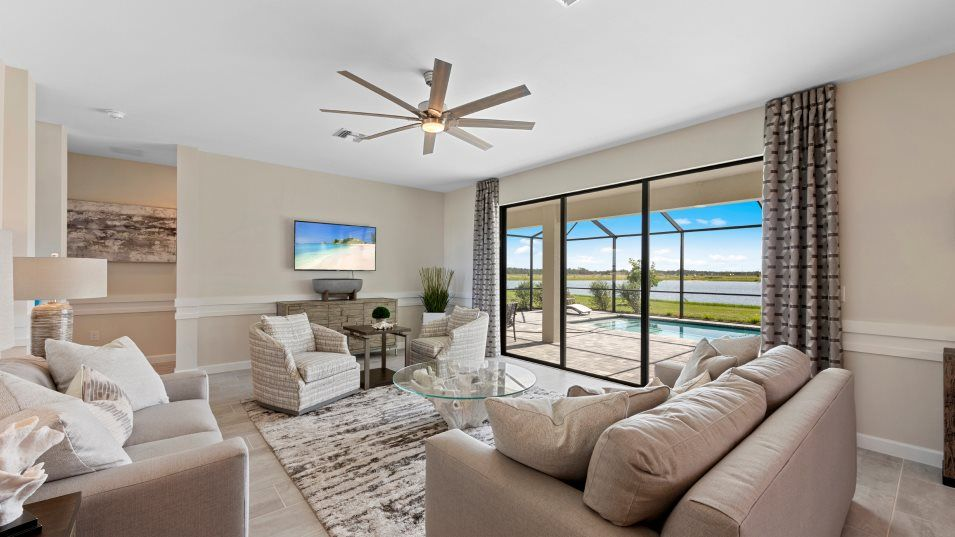 Babcock-National Estate Homes Pompano Family Room:This expansive family room is the center of the open space, welcoming family and friends to gather f