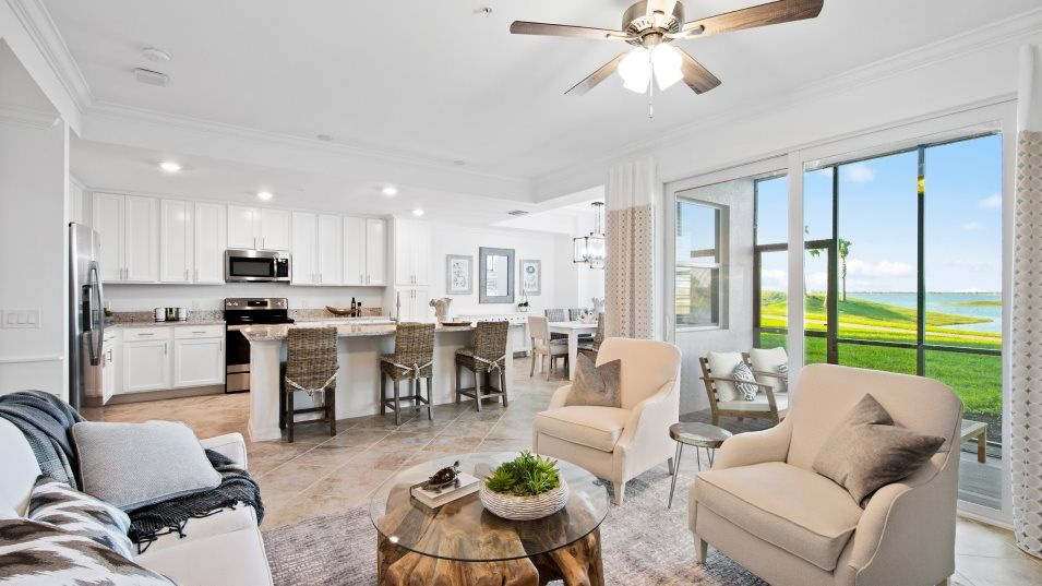 Heritage-Landing Terrace Condominiums Birkdale Liv:Situated next to the dining room and lanai, this living room hosts a modern open design to complemen
