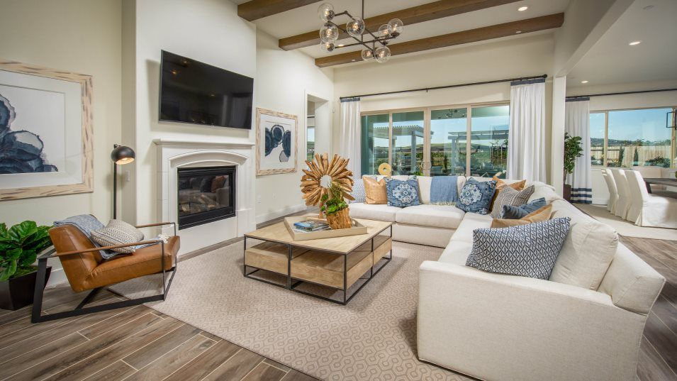 Heritage El Dorado Hills Estates The Vanderbilt 27:With high ceilings and a cozy fireplace, the Great Room naturally operates as the central gathering