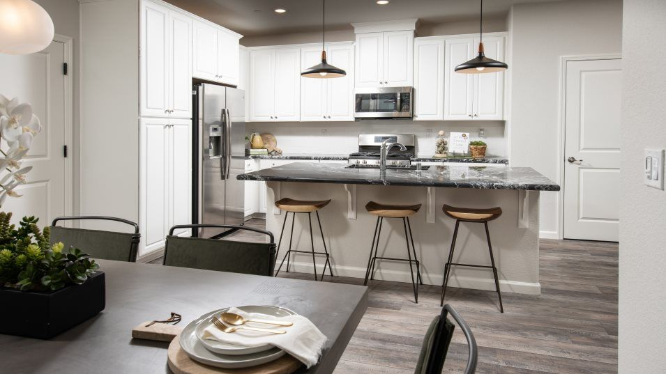 Sausalito Walk at Campus Oaks Residence 1892 Kitch:The chef-caliber kitchen with granite countertops and stainless-steel appliances including a built-i