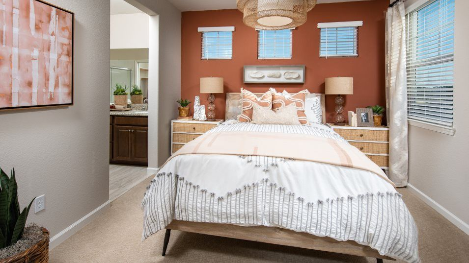 Sausalito Walk at Campus Oaks Residence 1408 Owner:The owner's bedroom is a serene refuge. The en-suite bathroom has granite-topped dual vanities and a