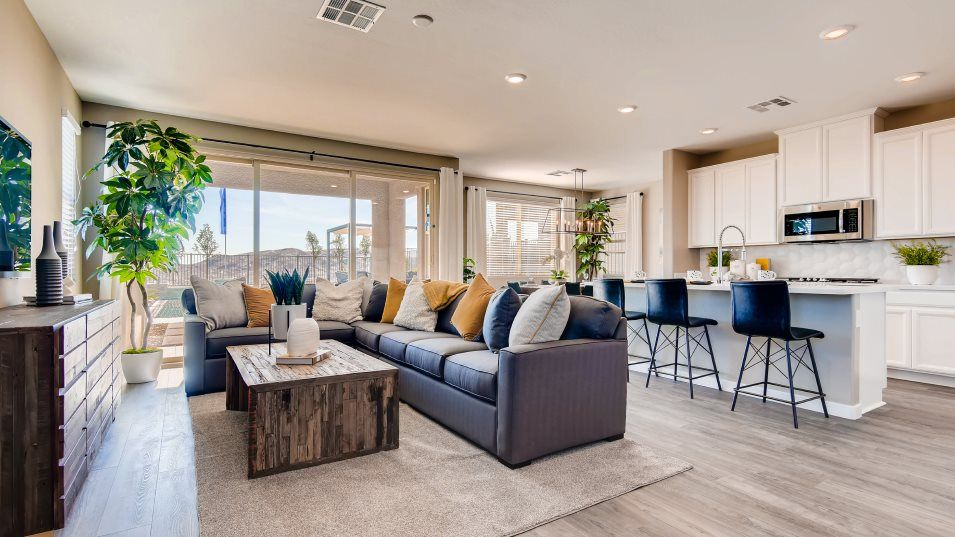 Summerlin Westcott Cordelia Kitchen and Living Roo:For seamless indoor-outdoor living, this comfortable gathering space flows easily to the dining room