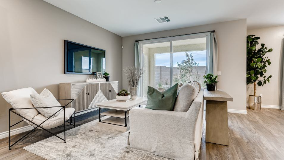 Silverado Valley The Crest Skyland Living & Dining:A comfortable gathering space for family activities, this living room flows into the airy dining roo