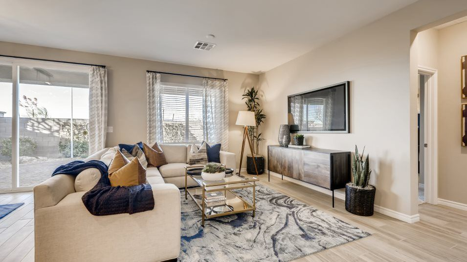 Valley Vista Queensbury Pioneer Next Gen Living Ro:Located near the dining room and covered patio, this open gathering space offers seamless indoor-out