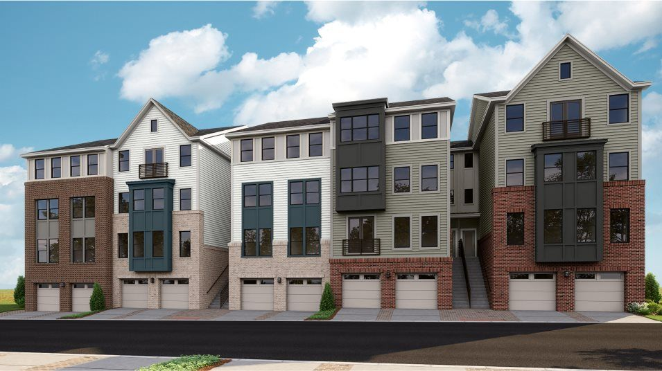 Row of townhomes in the Chatham II Plan