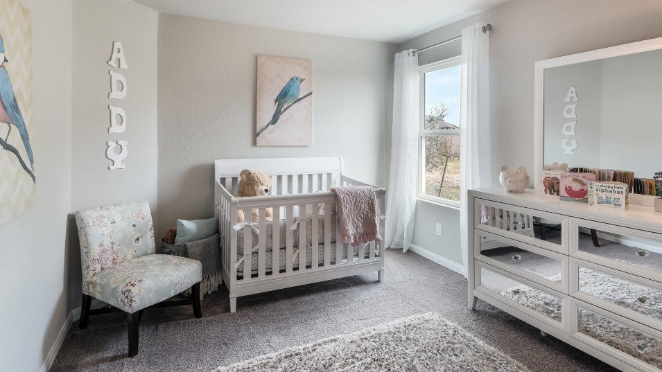 Mission Del Lago Bradwell Bedroom 3:Two bedrooms share a hall bathroom at the front of the home, perfect for young kids and infants