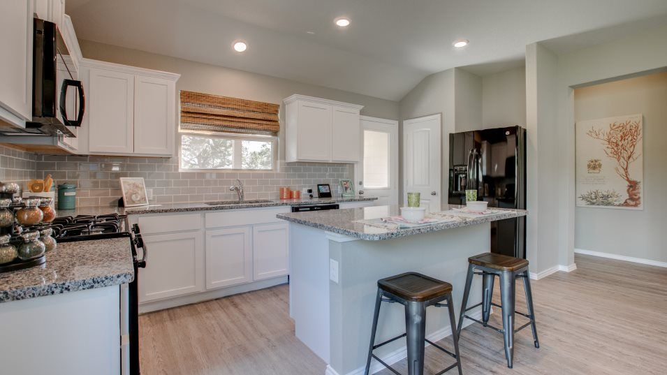 Voss-Farms Barrington, Brookstone II & Westfield H:A contemporary kitchen, this stylish space boasts a multiuse center island, all-new appliances and a