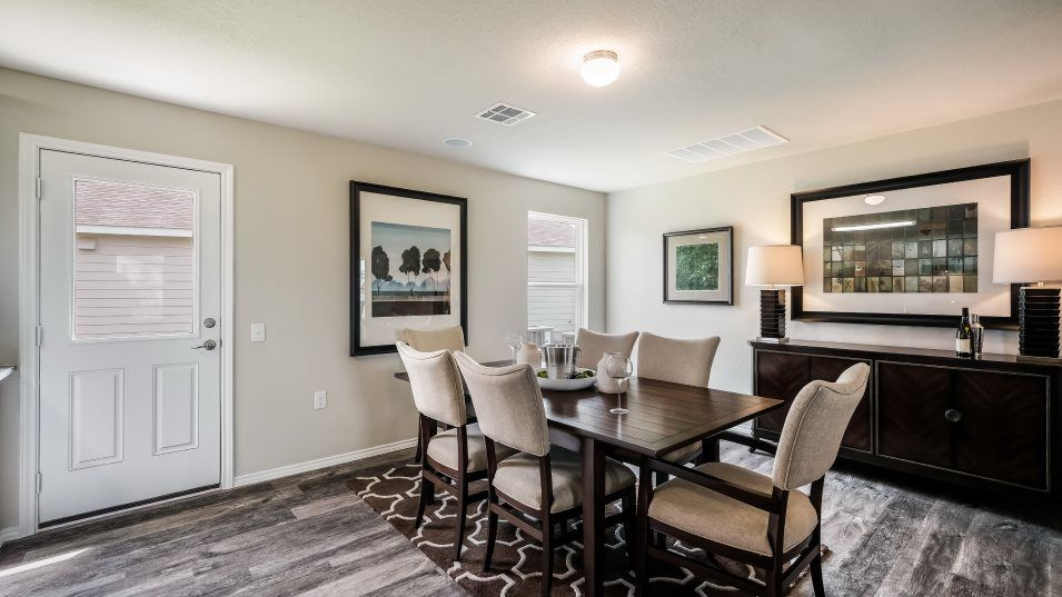 Rosillo Creek Durbin Dining Room:The living area feature plenty of space for a table and chairs across from the kitchen that works we