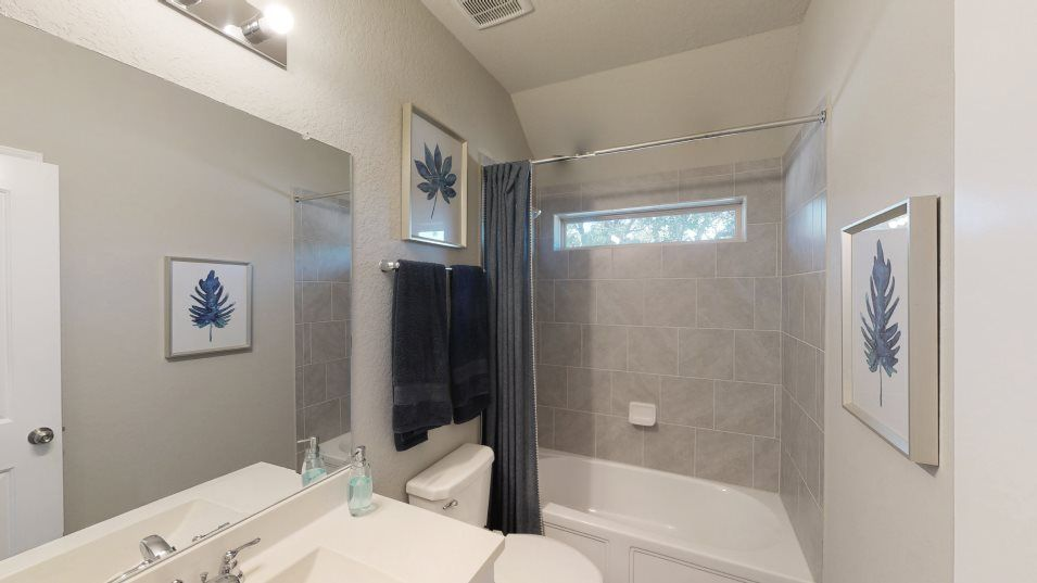 Waterwheel Westfield & Brookstone II Collections R:This full bathroom is tucked between two secondary bedrooms but can be accessed from the foyer, prov