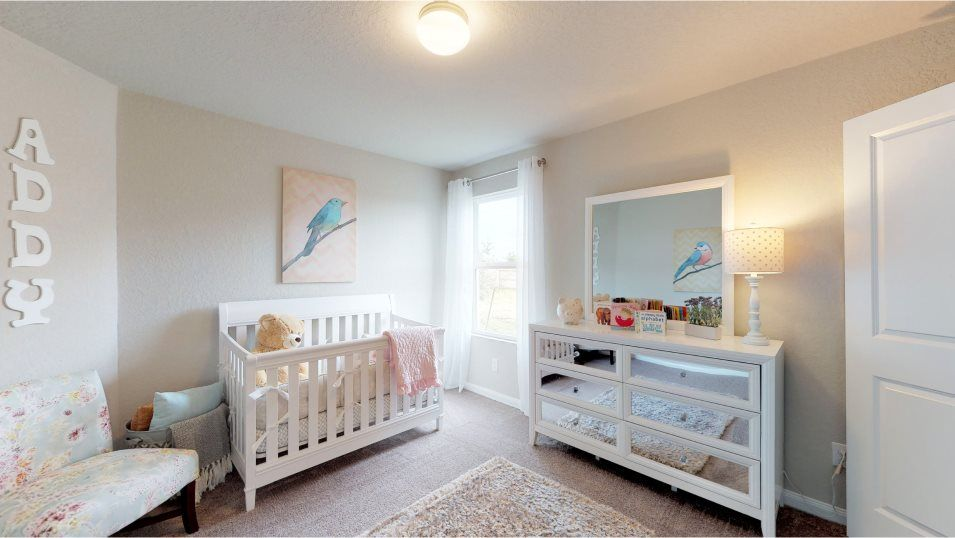 Rhine Valley Huxley Bedroom 3:Two bedrooms at the front of the home share a bathroom, perfect for young kids