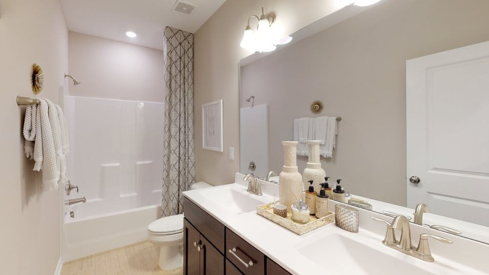 Meadowbrook Summit Collection Mayflower III Bathro:A full-sized bathroom on the second floor is conveniently located near the bedrooms, while still bei