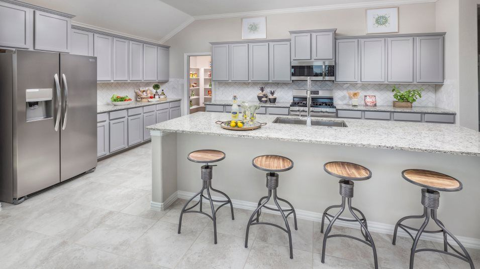 Woodforest Brookstone Collection Russo II Kitchen:This stylish modern kitchen includes brand-new chrome appliances, smooth granite countertops, a spac
