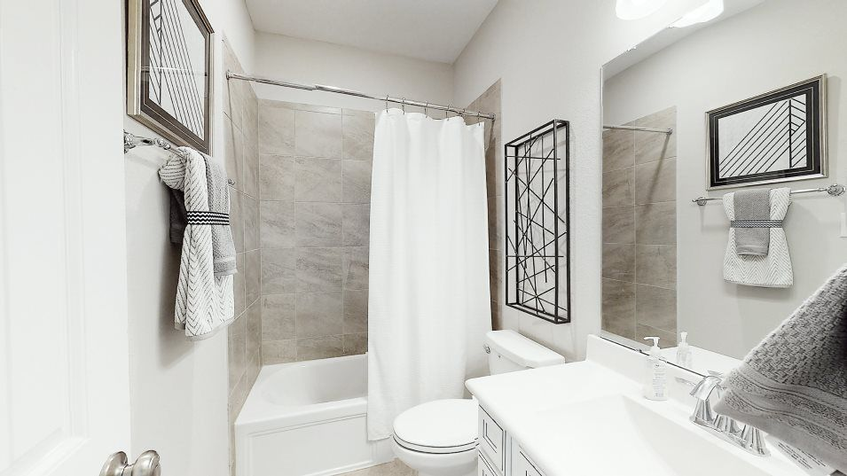 Falls at Green Meadows Texas Reserve Collection Ja:A full bathroom is easily accessible for residents upstairs and includes a highly convenient shower/
