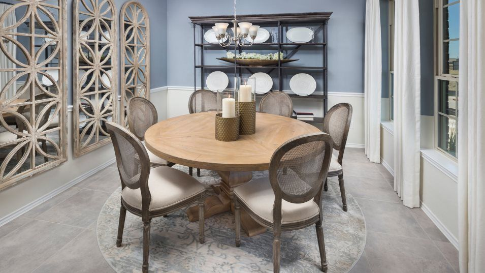 Bayou Lakes Brookstone and Wildflower Collections:The formal dining room offers homeowner's an elegant space for celebrations and family dinners.