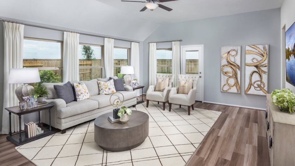 Winward Wildflower Collection Clover Family Room:This charming family room sets the scene for entertaining with ample natural light thanks to several