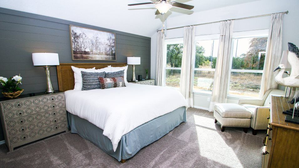 Potranco-Run Brookstone II Sig & Westfield 3-car G:The relaxing owner's suite is nestled in the back of the home for added privacy with a spa-inspired