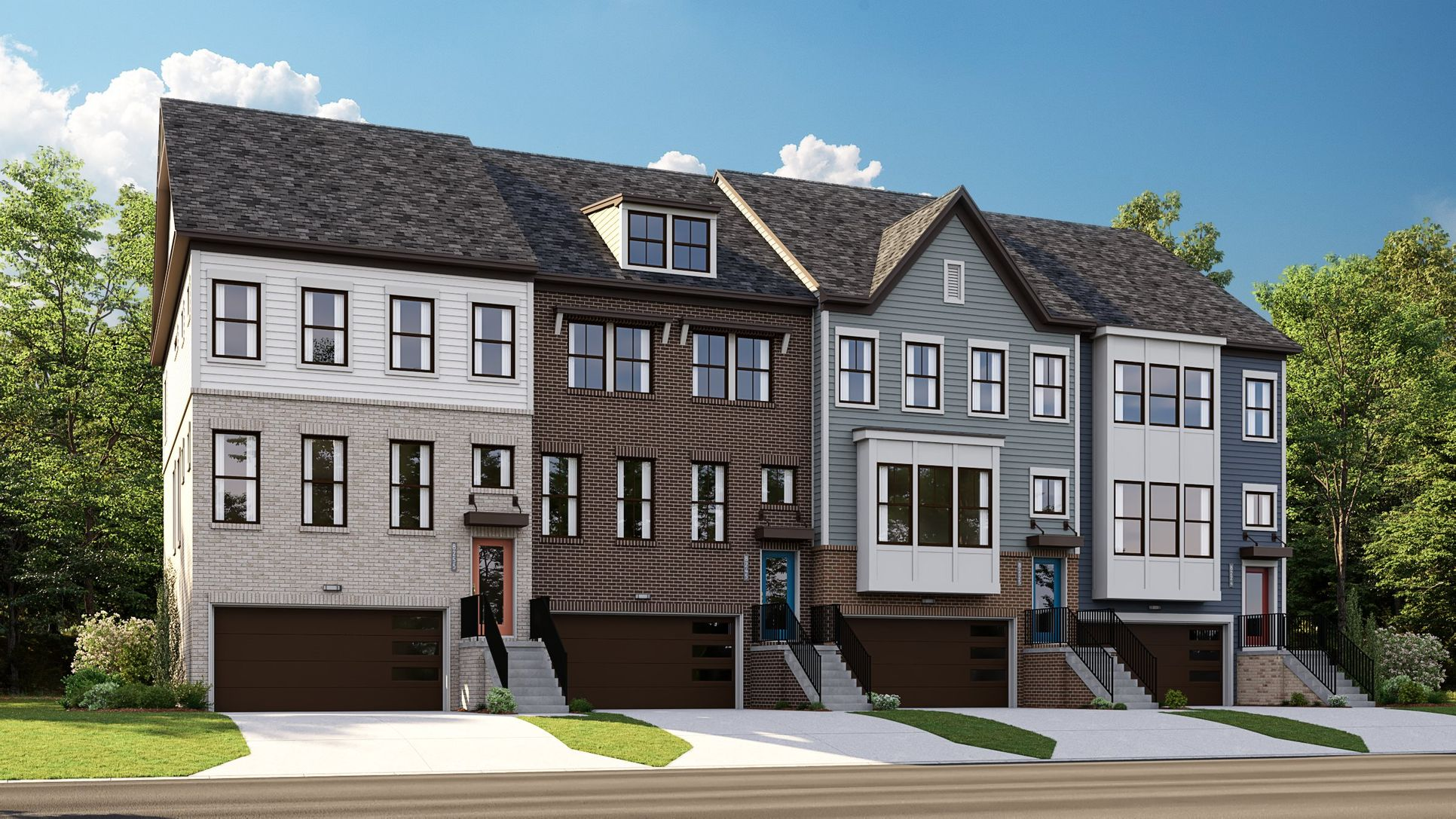 Row of townhomes in the Ellicott exterior