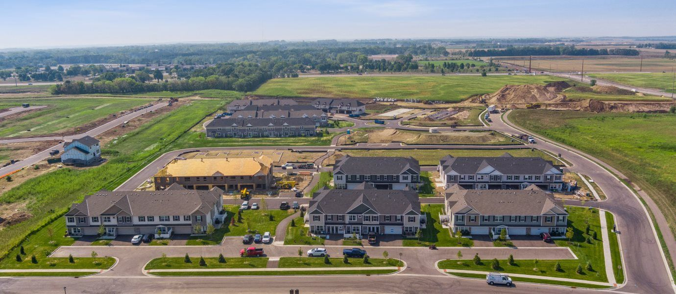 Aerial view of Colonial Manor Collection at Highlands of Falmoor Glen