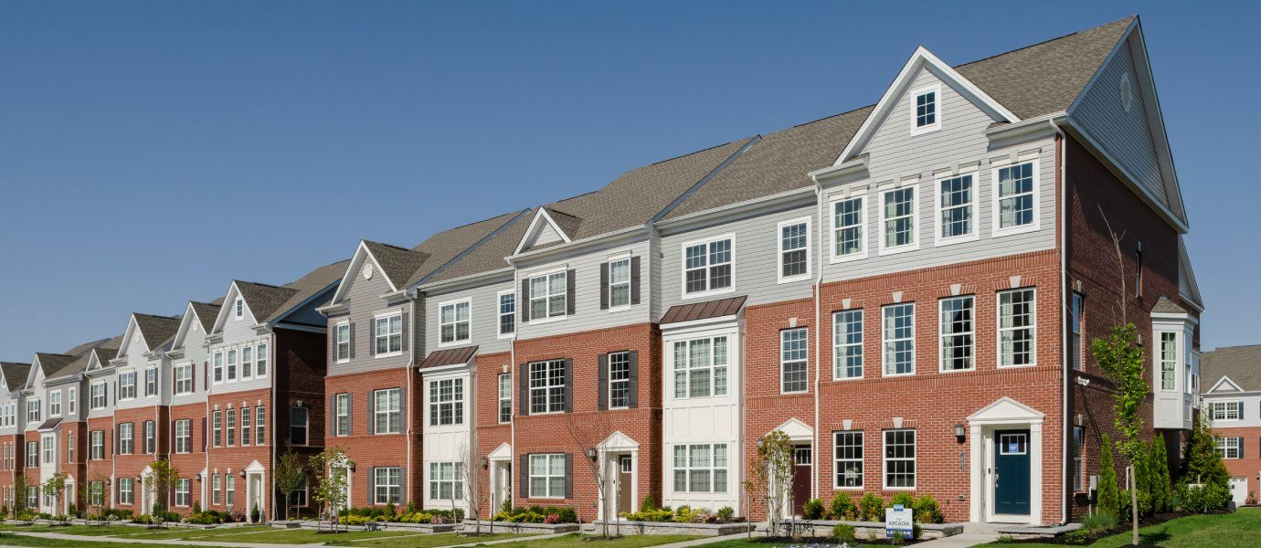 Townhome Streetscape in Delacour at Blue Stream