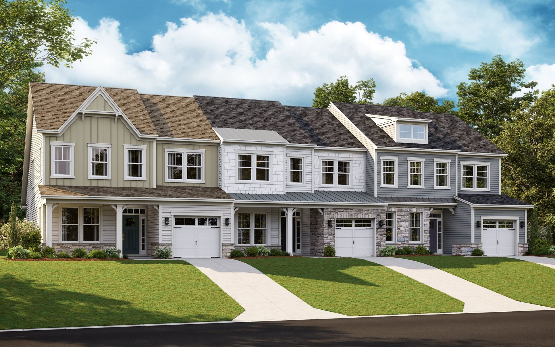 Row of townhomes in the Jennings plan at Amblebroo