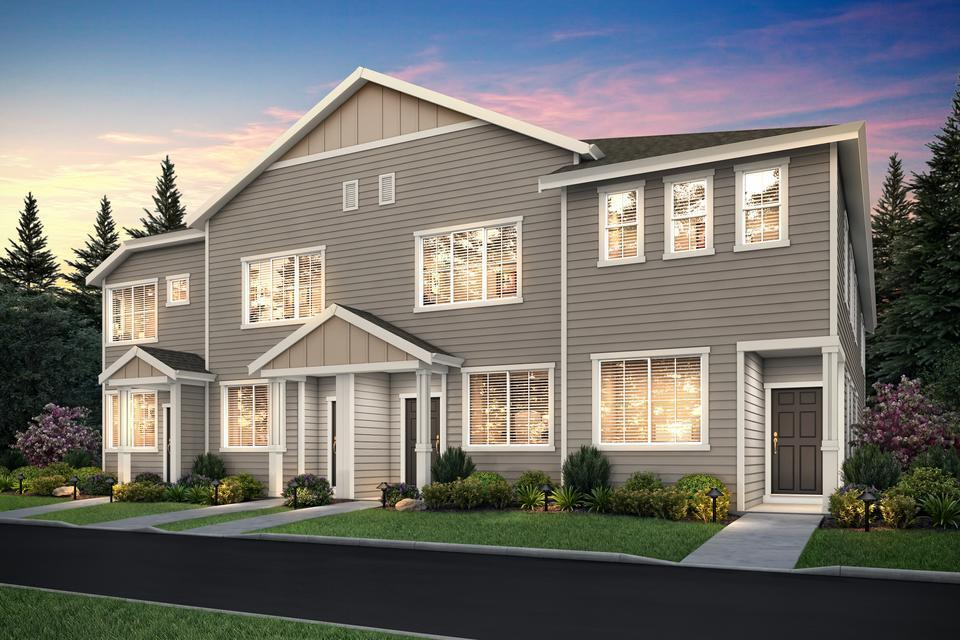 Harts Crossing by LGI Homes:The Cherry is at the far right end of this illustration, the unit with the inset covered entry.