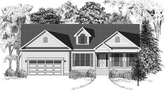 Country Elevation-Baylor-Built On Your Land:Shown with Porch